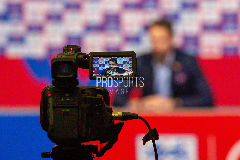 *** during the England Football Team press conference ahead of the Kosovo away match in the UEFA Euro Qualifiers at Wembley Stadium, London, England on 7 November 2019.