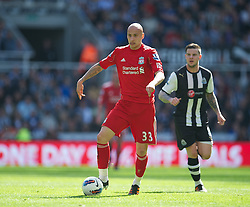 NEWCASTLE-UPON-TYNE, ENGLAND - Sunday, April 1, 2012: Liverpool's Jonjo Shelvey in action against Newcastle United during the Premiership match at St James' Park. (Pic by David Rawcliffe/Propaganda)