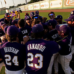 06 June 2009: LSU players huddle in celebration following a 5-3 victory by the LSU Tigers over the Rice Owls in game two of the NCAA baseball College World Series, Super Regional played at Alex Box Stadium in Baton Rouge, Louisiana. The Tigers with the win advance to next week's College Baseball World Series in Omaha, Nebraska.