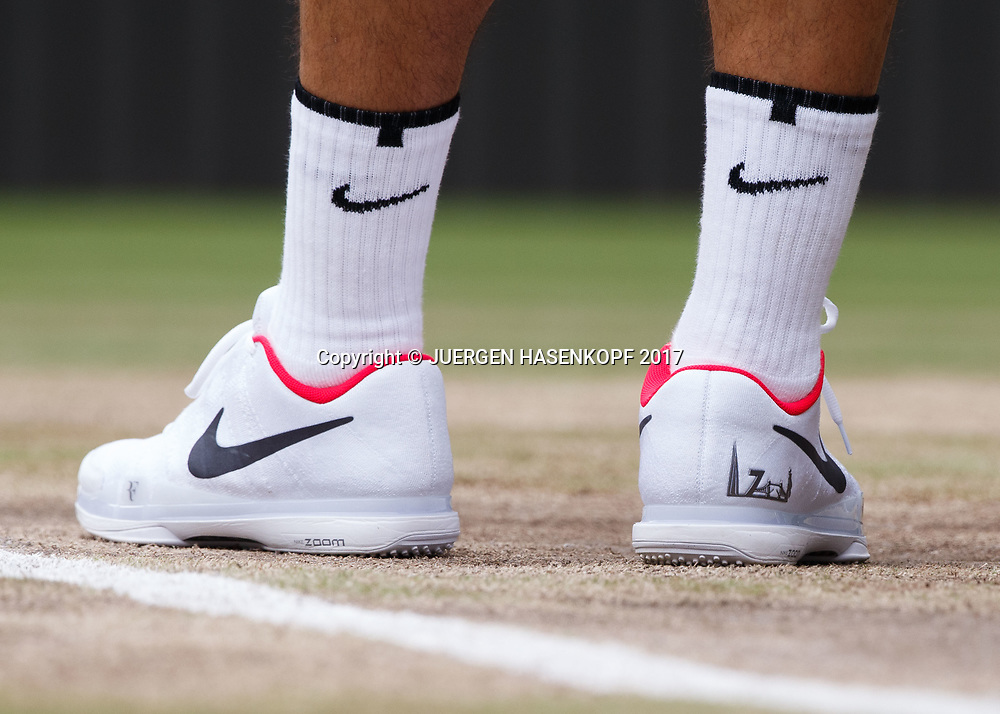 Schuhe von ROGER FEDERER (SUI), Endspiel, Final,Detail,Nahaufnahme,<br /> <br /> Tennis - Wimbledon 2016 - Grand Slam ITF / ATP / WTA -  AELTC - London -  - Great Britain  - 16 July 2017.