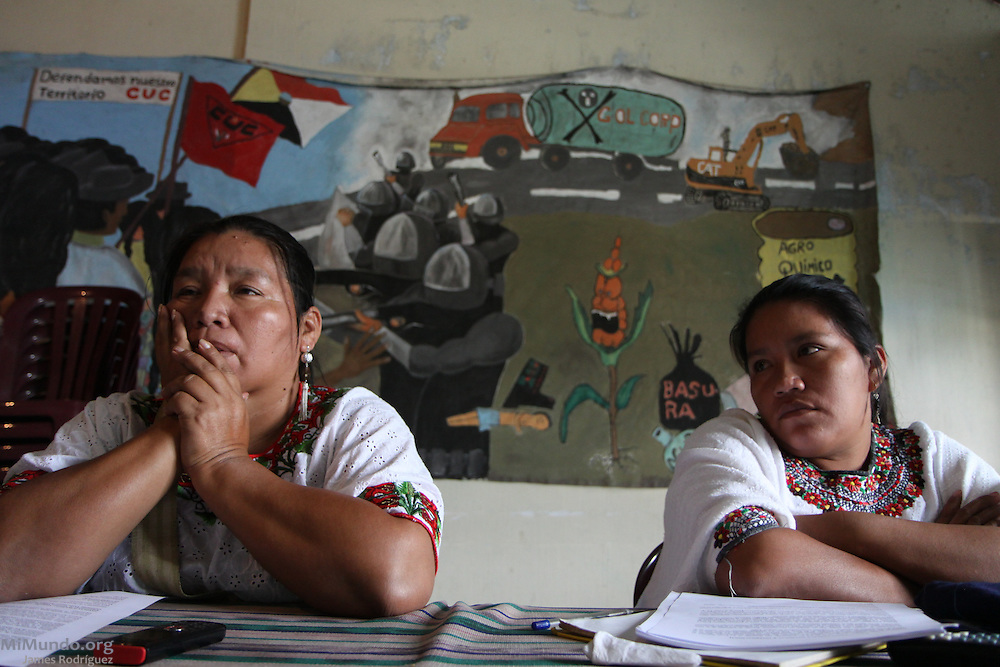 Angelica Choc (left), widow of murdered local leader Adolfo Ich Chaman, and her sister Maria Choc, seek legal advice at the Committee for Peasant Union (CUC) office. As Ich Chaman was hacked and shot to death by security forces employed at HudBay Minerals' Fenix Mining Project near the town of El Estor, Guatemala, Angelica Choc filed a landmark lawsuit in Canada, on her own behalf and as a representative of the estate of Adolfo Ich. The lawsuit alleges that the wrongful actions and omissions of these companies, primarily HudBay Minerals based in Toronto, and their employees, led to Adolfo Ich's death.