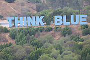 LOS ANGELES - JUNE 06:  The Think Blue sign appears on a hilltop from the top of the park at the Los Angeles Dodgers game against the Philadelphia Phillies at Dodger Stadium on Saturday, June 6, 2009 in Los Angeles, California.  The Dodgers defeated the Phillies 3-2 in 12 innings.  (Photo by Paul Spinelli/MLB Photos via Getty Images)