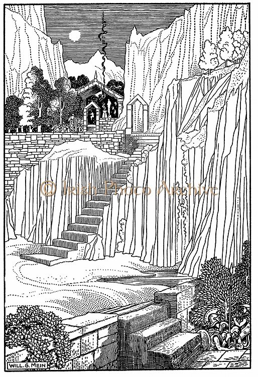Spartans asking Oracle at Delphi whether to make war against Athenians. Peloponnesian War (Second or Great 431-404BC) between Athens and Sparta. Wood engraving 1910. Priestess of temple of Apollo at Delphi (Delphos now Kastri), known as Pythia, most famous Ancient Greek oracle. Position held by celibate woman over 50 whose words were delivered to supplicant in often ambiguous verse by priests. Suppressed by Theodosius 4th century AD. Greeks considered Delphi at foot of Mount Parnassus to be navel of the world.