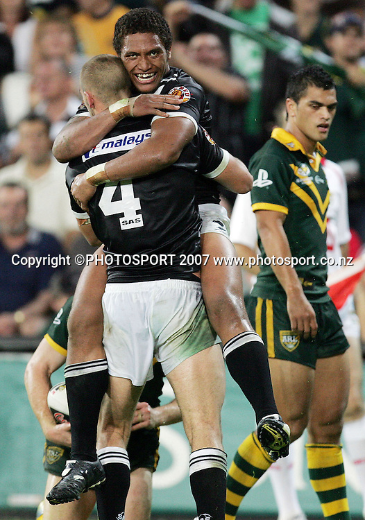 Manu Vatuvei celebrates after scoring during the ANZAC international rugby league match between the Kiwis and Australia at Suncorp Stadium, Brisbane, Australia on Friday 20 April 2007. Australia won the match by 30 - 6. Photo: Hannah Johnston/PHOTOSPORT<br /> <br /> <br /> <br /> 200407