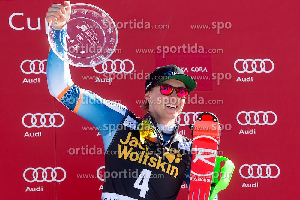 Winner of Cup Vitranc (overall) KRISTOFFERSENHenrik of Norway at medal ceremony during the 2nd Run of Men's Slalom - Pokal Vitranc 2014 of FIS Alpine Ski World Cup 2013/2014, on March 9, 2014 in Vitranc, Kranjska Gora, Slovenia. Photo by Matic Klansek Velej / Sportida