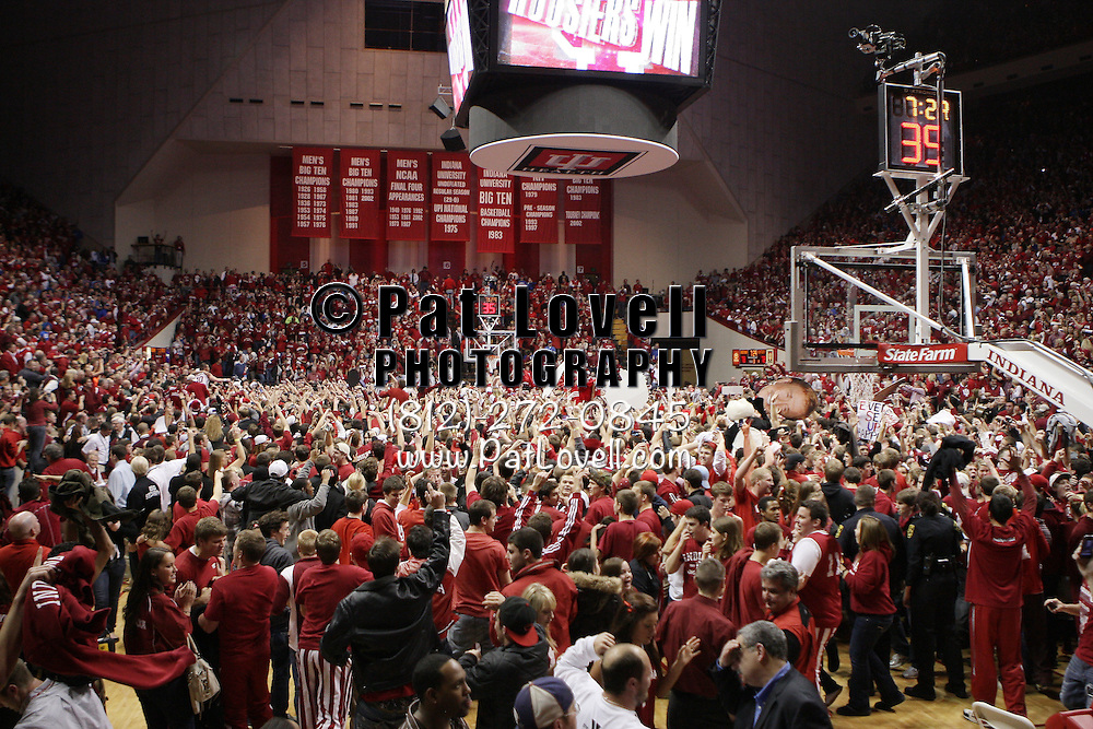 December 10, 2011 -  Indiana fans rush the court after Indiana Hoosiers forward Christian Watford (2) hit a last second shot to win the game during an NCAA basketball game between Indiana and Kentucky at Assembly Hall in Bloomington, Indiana. Indiana beat Kentucky 73-72.