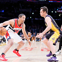 21 March 2014: Los Angeles Lakers guard Steve Nash (10) defends on Washington Wizards guard Andre Miller (24) during the Washington Wizards 117-107 victory over the Los Angeles Lakers at the Staples Center, Los Angeles, California, USA.
