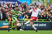 Forest Green Rovers Omar Bugiel(11) and Newport County's Matthew Dolan(8) during the EFL Sky Bet League 2 match between Forest Green Rovers and Newport County at the New Lawn, Forest Green, United Kingdom on 14 October 2017. Photo by Shane Healey.