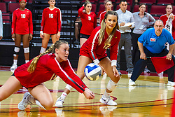 BLOOMINGTON, IL - September 14: Alyssa Kronberg watches Sarah Kushner pull out a dig during a college Women's volleyball match between the ISU Redbirds and the University of Central Florida (UCF) Knights on September 14 2019 at Illinois State University in Normal, IL. (Photo by Alan Look)