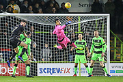 Forest Green Rovers goalkeeper Robert Sanchez(1) makes a save during the EFL Sky Bet League 2 match between Forest Green Rovers and Mansfield Town at the New Lawn, Forest Green, United Kingdom on 15 December 2018.
