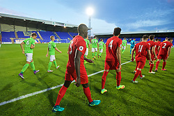 BIRKENHEAD, ENGLAND - Wednesday, September 28, 2016: Liverpool's Mamadou Sakho walks out to face Wolfsburg during the Premier League International Cup match at Prenton Park. (Pic by David Rawcliffe/Propaganda)