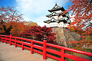 Hirosaki castle in northern Japan. The cherry trees in their autumn colors.