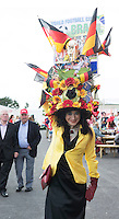 03/08/2014 Eithne Staunton from Mayo  with a world cup theme hat for the mad hatter's competition  at the Final day of the Galway Racing Summer Festival. Photo:Andrew Downes