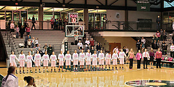 "08 February 2014:  Illinois Wesleyan Lady Titans line up for the Star Spangled Banner and ""Think Pink"" during an NCAA women's division 3 CCIW basketball game between the Elmhurst Bluejays and the Illinois Wesleyan Titans in Shirk Center, Bloomington IL"