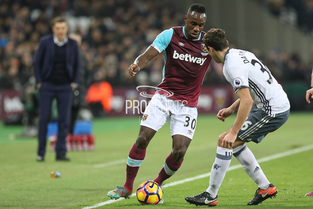 West Ham Midfielder Michail Antonio takes on Matteo Darmian Defender of Manchester United during the Premier League match between West Ham United and Manchester United at the Stadium Queen Elizabeth Olympic Park, London, United Kingdom on 2 January 2017. Photo by Phil Duncan.