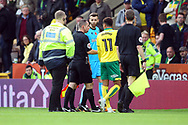 Josh Murphy of Norwich carries on the protests to Referee Peter Bankes over what he thought was a foul on him earlier in the half during the Sky Bet Championship match at Carrow Road, Norwich<br /> Picture by Paul Chesterton/Focus Images Ltd +44 7904 640267<br /> 28/10/2017