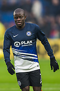 N'Golo Kante (Chelsea) leaving the pitch after a warm-up ahead of the Premier League match between Brighton and Hove Albion and Chelsea at the American Express Community Stadium, Brighton and Hove, England on 1 January 2020.