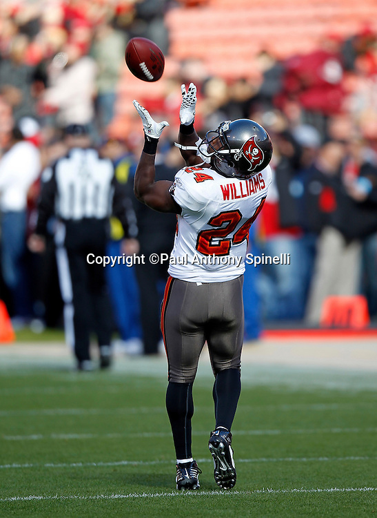 Tampa Bay Buccaneers running back Cadillac Williams (24) catches a pregame pass during the NFL week 11 football game against the San Francisco 49ers on Sunday, November 21, 2010 in San Francisco, California. The Bucs won the game 21-0. (©Paul Anthony Spinelli)