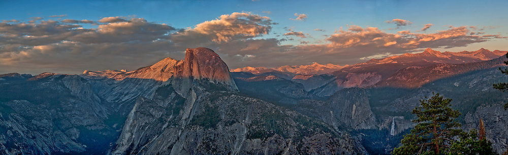 Panoramic view of Half Dome and the backcountry and the Clark Range of Yosemite National Park.