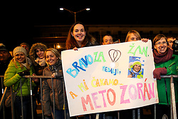Fans of Zan Kosir at reception of Slovenia team arrived from Winter Olympic Games Sochi 2014 on February 24, 2014 at Airport Joze Pucnik, Brnik, Slovenia. Photo by Vid Ponikvar / Sportida