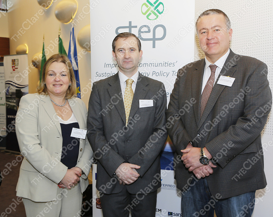 Seminar discusses future investments in sustainable energyLocal Government representatives and energy experts from throughout Ireland and Europe gathered in Limerick County Hall this week to participate in a sustainable energy seminar. Among those attending were Ruth McNally, Midland Regional Authority, MWRA Director Anthony Coleman and Francisco BernabŽ PŽrez, Mayor of La Union, Region of Murcia.  Liam Burke/Press 22The event was hosted by the Mid West Regional Authority (MWRA) as part of its participation in the European STEP Project, which is focused on the improvement of sustainable energy policy in the Local Government sector.Entitled &quot;Alternative financing tools for Sustainable Energy&quot;, the thematic seminar featured speakers from Ireland, Germany, Spain and Finland on a range of issues including Financing Energy Efficiency Projects, Renewable Energy Plans and Ireland's National Energy Services Framework.<br /> Seminar discusses future investments in sustainable energyLocal Government representatives and energy experts from throughout Ireland and Europe gathered in Limerick County Hall this week to participate in a sustainable energy seminar. Among those attending were Ruth McNally, Midland Regional Authority, MWRA Director Anthony Coleman and Francisco Bernab&eacute; P&eacute;rez, Mayor of La Union, Region of Murcia.  Liam Burke/Press 22The event was hosted by the Mid West Regional Authority (MWRA) as part of its participation in the European STEP Project, which is focused on the improvement of sustainable energy policy in the Local Government sector.Entitled &quot;Alternative financing tools for Sustainable Energy&quot;, the thematic seminar featured speakers from Ireland, Germany, Spain and Finland on a range of issues including Financing Energy Efficiency Projects, Renewable Energy Plans and Ireland's National Energy Services Framework.