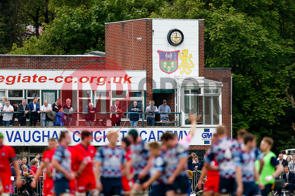 General View of the old clubhouse and radio commentators during the match - Photo mandatory by-line: Rogan Thomson/JMP - 07966 386802 - 10/05/2015 - SPORT - RUGBY UNION - Abbeydale Park, Sheffield - Rotherham Titans v Bristol Rugby - Greene King IPA Championship Play Off Semi Final Second Leg.