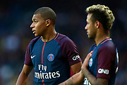 Paris Saint Germain's French forward Kylian Mbappe stands next to Paris Saint Germain's Brazilian forward Neymar Jr during the French Championship Ligue 1 football match between Paris Saint-Germain and Girondins de Bordeaux on September 30, 2017 at the Parc des Princes stadium in Paris, France - Photo Benjamin Cremel / ProSportsImages / DPPI