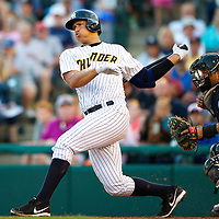 New York Yankees Third Baseman Alex Rodriguez swings and misses during an at bat during a minor league game for the AA Trenton Thunder in Trenton, NJ on August 3, 2013.  He is facing a suspension by Major League Baseball for his alleged use of steroids with the Biogenesis clinic in Florida.