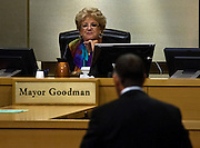 Las Vegas Mayor Carolyn Goodman listens to David Abrams as he addresses the Las Vegas City Council during a presentation on the proposed downtown soccer stadium on Wednesday, September 3, 2014.  L.E. Baskow