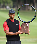 Tiger Woods <br /> Wins with the trophy<br /> ZOZO CHAMPIONSHIP <br /> Accordia Golf Narashino CC,  Chiba,  Japan<br /> Woods led wire-to-wire for his 82nd PGA TOUR victory, tying Sam Snead for official victory in his career<br /> 2019<br /> Picture Credit: Mark Newcombe / visionsgolf.com
