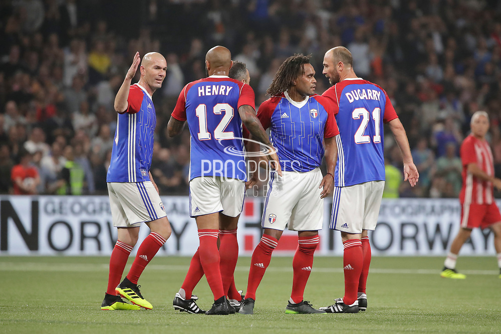 Zinedine Zidane (France 98) celebrated the goal scored by Thierry Henry (France 98), Youri Djorkaeff (France 98), Christian Karembeu (France 98), Christophe Dugarry (France 98) during the 2018 Friendly Game football match between France 98 and FIFA 98 on June 12, 2018 at U Arena in Nanterre near Paris, France - Photo Stephane Allaman / ProSportsImages / DPPI