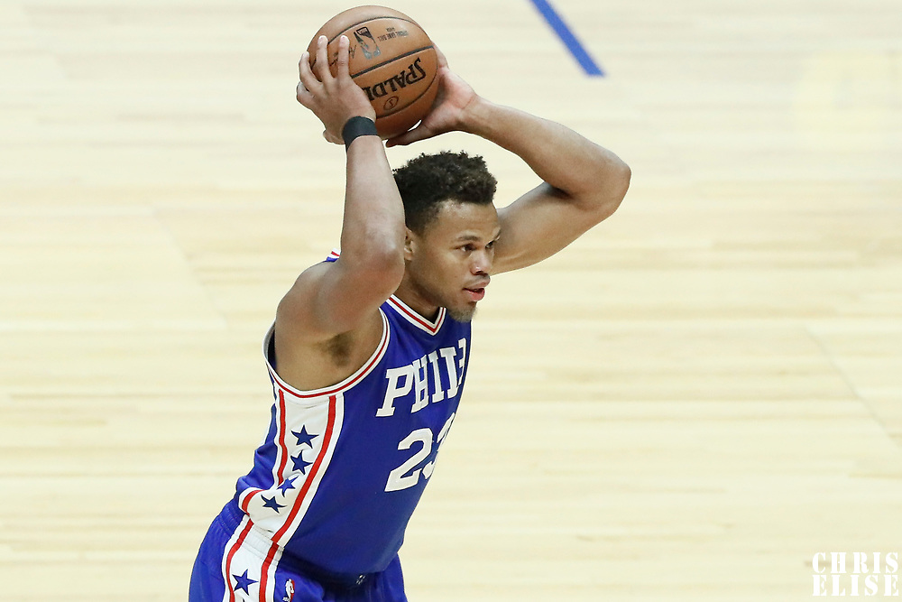 11 March 2017: Philadelphia 76ers guard Justin Anderson (23) looks to pass the ball during the LA Clippers 112-100 victory over the Philadelphia Sixers, at the Staples Center, Los Angeles, California, USA.