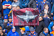 Rangers fans show their support for Soldier F during the Ladbrokes Scottish Premiership match between Heart of Midlothian and Rangers FC at Tynecastle Park, Edinburgh, Scotland on 20 October 2019.