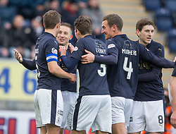 Falkirk's John Baird cele scoring their first goal. <br /> Falkirk 5 v 0 Alloa Athletic, Scottish Championship game played at The Falkirk Stadium.