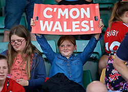 NEWPORT, WALES - Tuesday, June 12, 2018: Young Wales supporters during the pre-match warm-up before the FIFA Women's World Cup 2019 Qualifying Round Group 1 match between Wales and Russia at Newport Stadium. (Pic by David Rawcliffe/Propaganda)