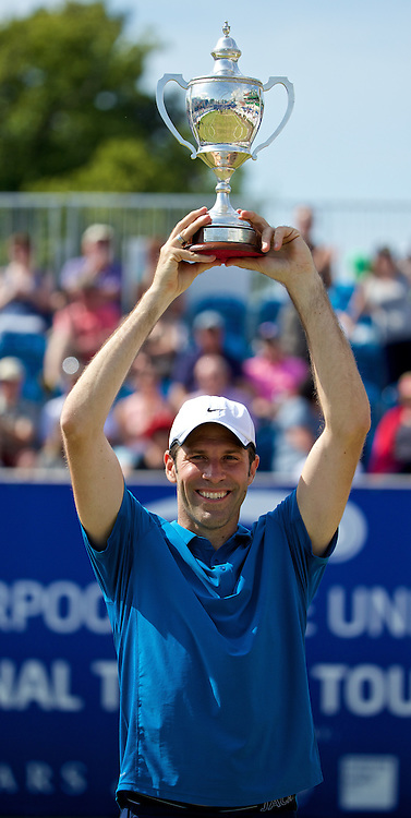 LIVERPOOL, ENGLAND - Sunday, June 22, 2014: Legends Champion 2014 Greg Rusedski (GRB) during Day Four of the Liverpool Hope University International Tennis Tournament at Liverpool Cricket Club. (Pic by David Rawcliffe/Propaganda)