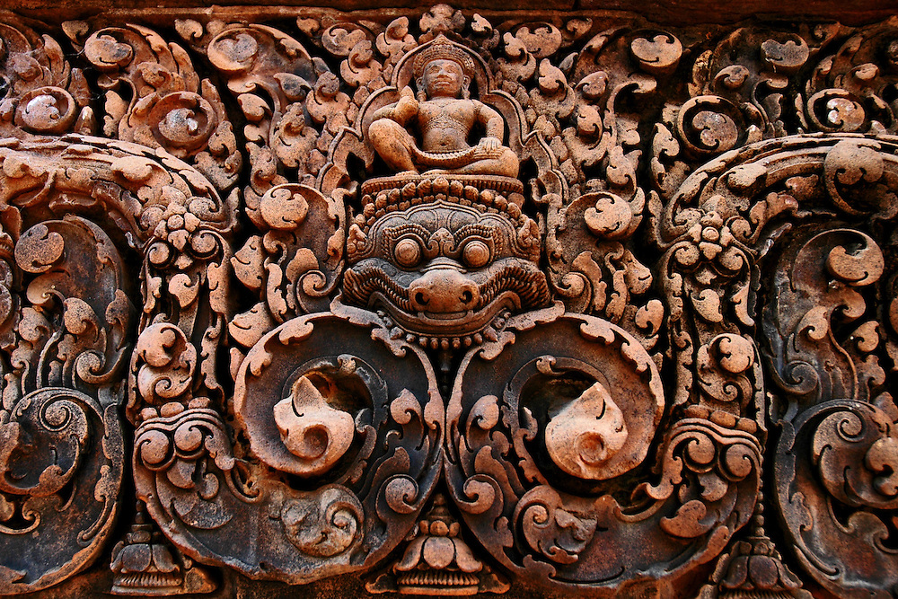 This ornamental bas-relief of a kala is from Banteay Srei, a richly decorated, late 10th century Hindu temple dedicated to Shiva located in the Angkor Wat temple complex in Siem Reap, Cambodia.<br />