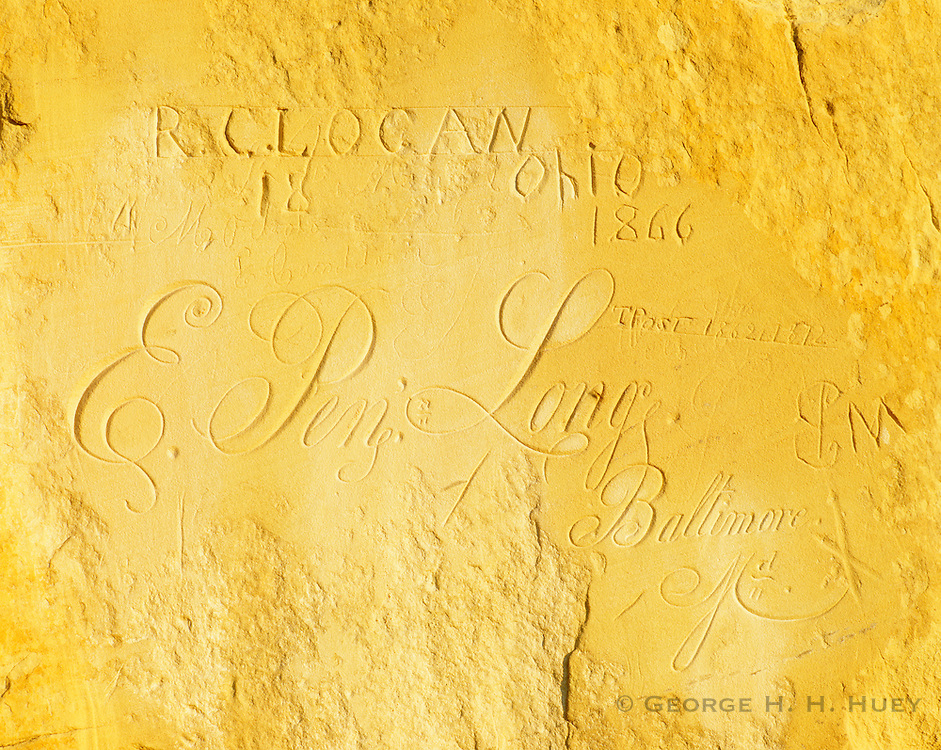 0207-1007B ~ Copyright: George H. H. Huey ~ E. Pen Long signature carved on Inscription Rock, between 1850-1862, member of U. S. Army.  El Morro National Monument, New Mexico.