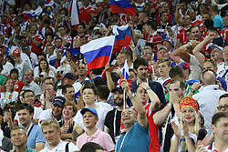 July 7, 2018 - Sochi, Russia - July 07, 2018, Sochi, FIFA World Cup 2018, the playoff round. 1/4 finals of the World Cup. Football match Russia - Croatia at the stadium Fisht. Player of the national team Fans; viewers; fans. (Credit Image: © Russian Look via ZUMA Wire)