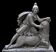 Marble group of Mithras slaying the bull.  2nd century AD, from Rome, Italy.  The cult of Mithras originated in Persia but he was one of a number of eastern deities, including Cybele and Isis, whose worship spread throughout the Roman Empire during the first three centuries AD.