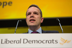 Bournemouth, UK. 15 September, 2019. Tom Morrison, Liberal Democrat PPC for Cheadle, speaks on the Stop Brexit motion during the Liberal Democrat Autumn Conference. Following a vote won by an overwhelming majority, the Liberal Democrats pledged to cancel Brexit if they win power at the next general election. This marks a shift in policy from their previous backing for a People's Vote. Credit: Mark Kerrison/Alamy Live News