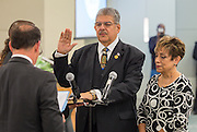 Manuel Rodriguez is sworn in during ceremonies for newly elected Houston ISD trustees, January 14, 2016.