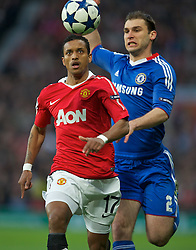 12.04.2011, Old Trafford, Manchaster, ENG, UEFA Champions league, viertel Finale, Manchester United FC v Chelsea FC, im Bild Manchester United's Nani and Chelsea's Branislav Ivanovic during the UEFA Champions League Quarter-Final 2nd Leg match at Old Trafford. EXPA Pictures © 2011, PhotoCredit: EXPA/ Propaganda/ David Rawcliffe +++++ ATTENTION - OUT OF ENGLAND/UK +++++