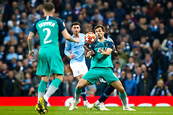 Fernando Llorente of Tottenham Hotspur takes on Benjamin Mendy of Manchester City - Mandatory by-line: Robbie Stephenson/JMP - 17/04/2019 - FOOTBALL - Etihad Stadium - Manchester, England - Manchester City v Tottenham Hotspur - UEFA Champions League Quarter Final 2nd Leg