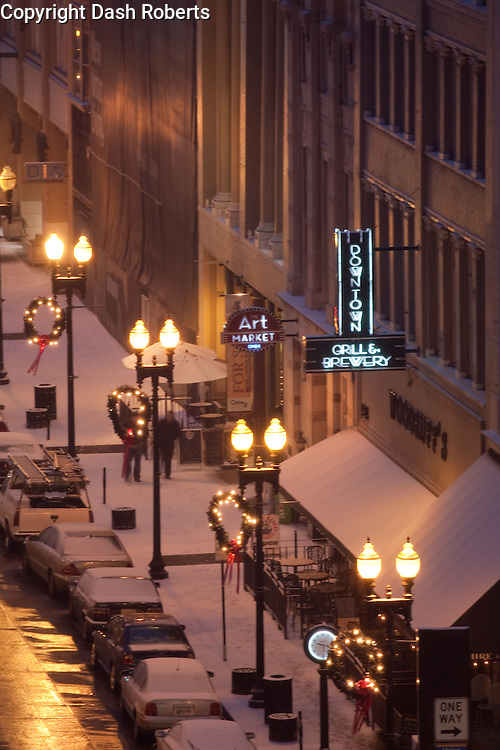 Winter snowfall along Gay Street in downtown Knoxville, Tennessee.