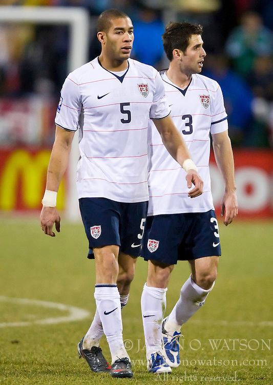 United States defender Oguchi Onyewu(5) and United States defender Carlos Bocanegra (3).  The United States men's soccer team defeated the Mexican national team 2-0 in CONCACAF final group qualifying for the 2010 World Cup at Columbus Crew Stadium in Columbus, Ohio on February 11, 2009.