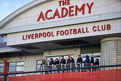 KIRKBY, ENGLAND - Friday, December 15, 2017: Liverpool's Under-18 manager Steven Gerrard watches with former player Steve McManaman and Academy Director Alex Inglethorpe during the Under-23 FA Premier League 2 Division 1 match between Liverpool and Swansea City at the Kirkby Academy. (Pic by David Rawcliffe/Propaganda)