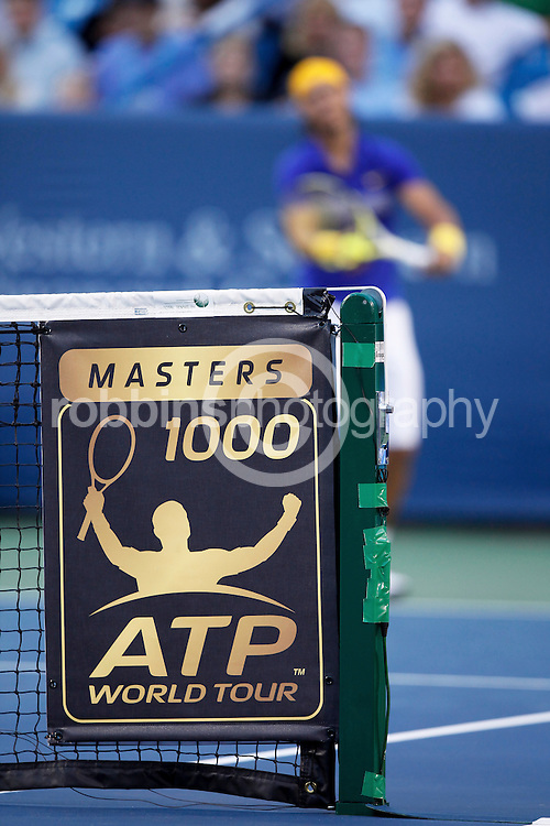 CINCINNATI, OH - AUGUST 22: Detail view of the ATP World Tour banner on the net during the match between Rafael Nadal of Spain and Novak Djokovic of Serbia during day six of the Western & Southern Financial Group Masters on August 22, 2009 at the Lindner Family Tennis Center in Cincinnati, Ohio. Djokovic defeated Nadal 6-1, 6-4. (Photo by Joe Robbins)