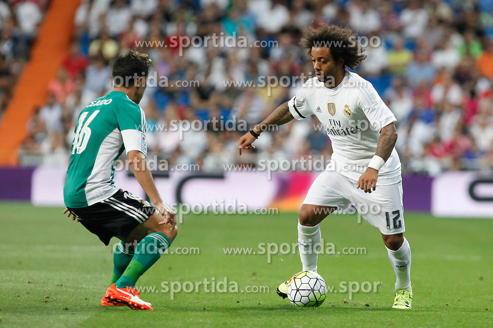 29.08.2015, Estadio Santiago Bernabeu, Madrid, ESP, Primera Division, Real Madrid vs Real Betis, 2. Runde, im Bild Real Madrid&acute;s Marcelo Vieira // during the Spanish Primera Division 2nd round match between Real Madrid and Real Betis at the Estadio Santiago Bernabeu in Madrid, Spain on 2015/08/29. EXPA Pictures &copy; 2015, PhotoCredit: EXPA/ Alterphotos/ Victor Blanco<br /> <br /> *****ATTENTION - OUT of ESP, SUI*****