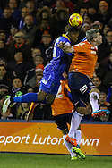 Steve McNulty of Luton Town (right) and Jean-Louis Akpa Akpro of Shrewsbury Town in an aerial battle during the Sky Bet League 2 match at Kenilworth Road, Luton<br /> Picture by David Horn/Focus Images Ltd +44 7545 970036<br /> 08/01/2015